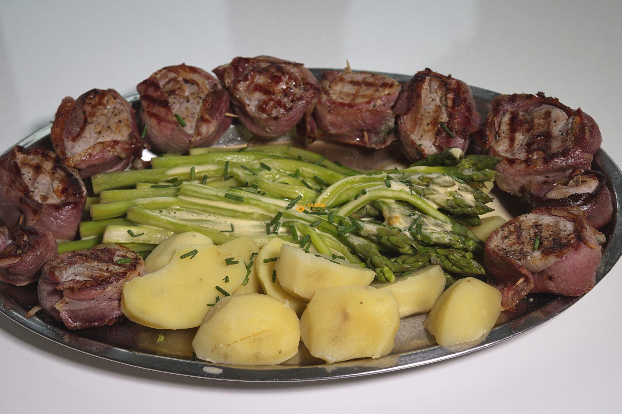 šparoge kuhane sa krumpirom umak i lungić