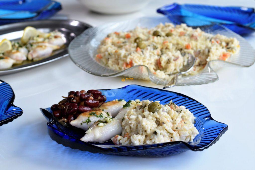Punjene lignje kremasti rižoto sa blitvom salata od graha i slanutka