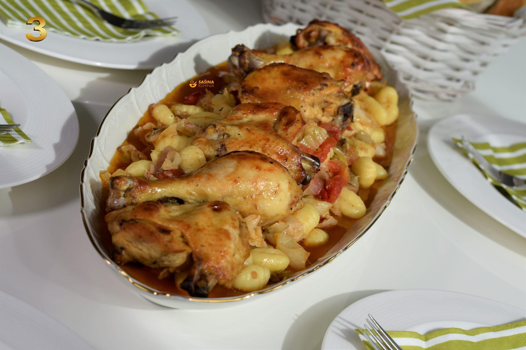 pečena piletina iz pećnice sa kupusom i povrćem