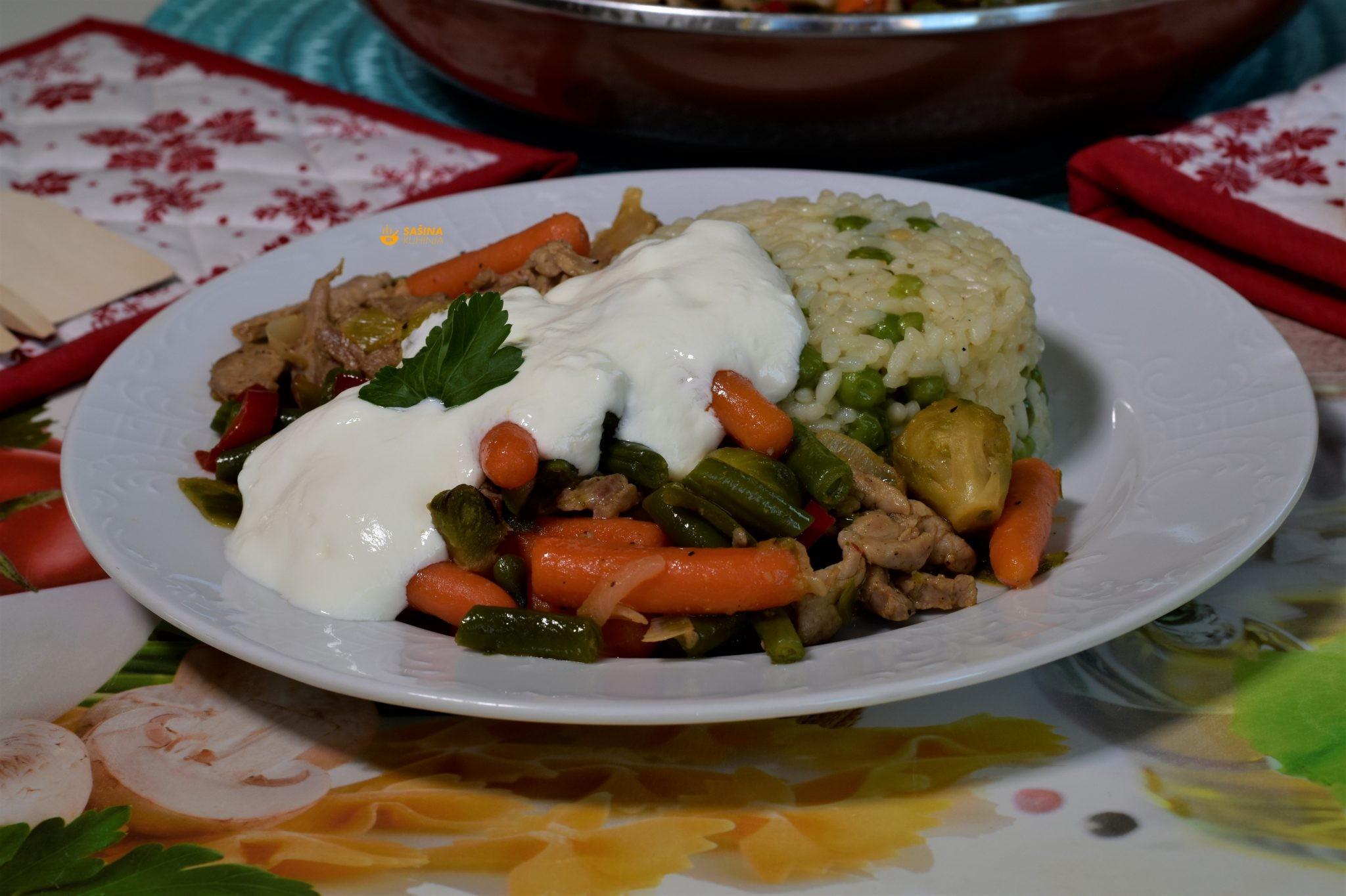 lungić flambirani s povrćem