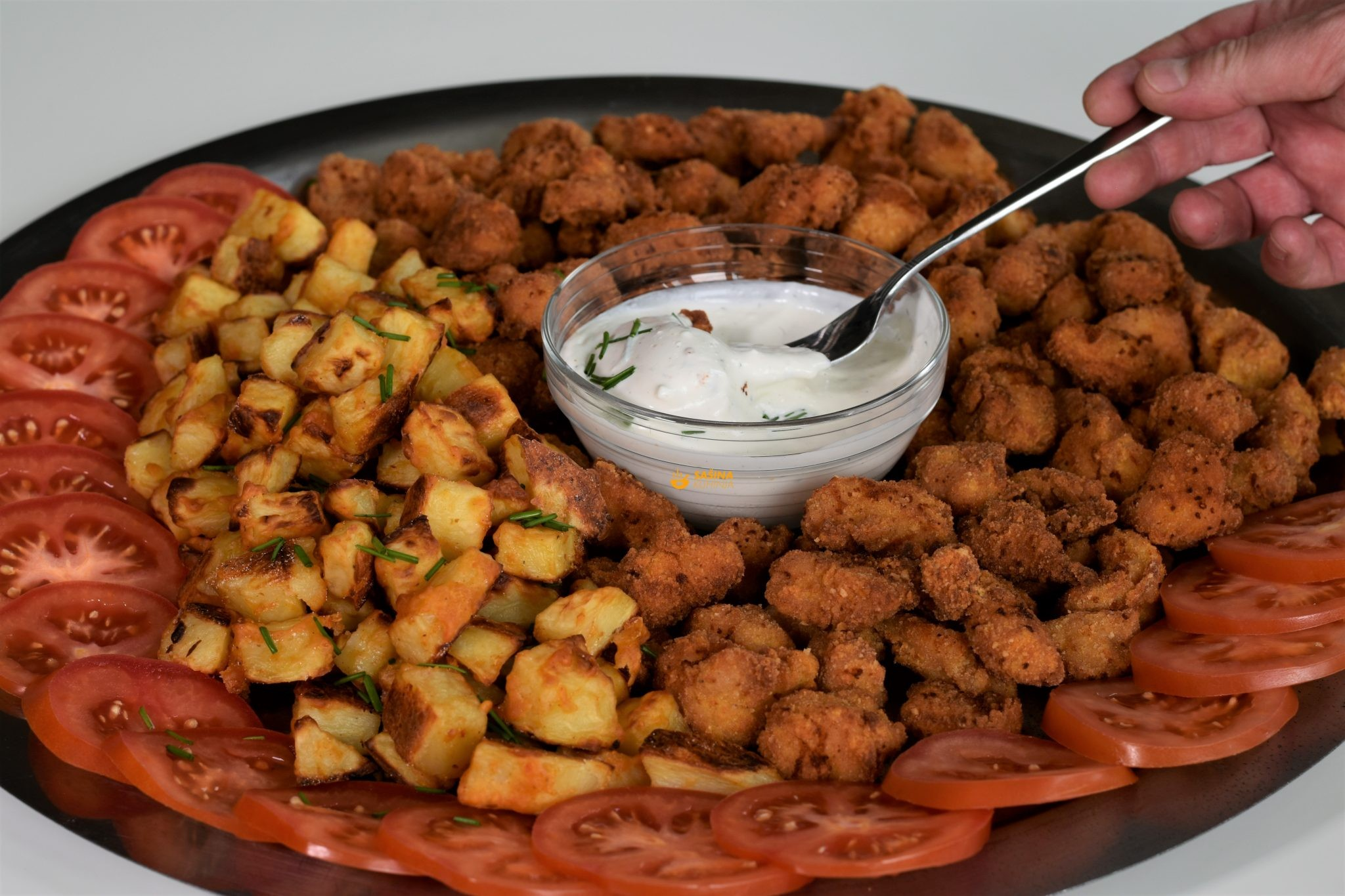 pekarski krumpir i pohana puretina