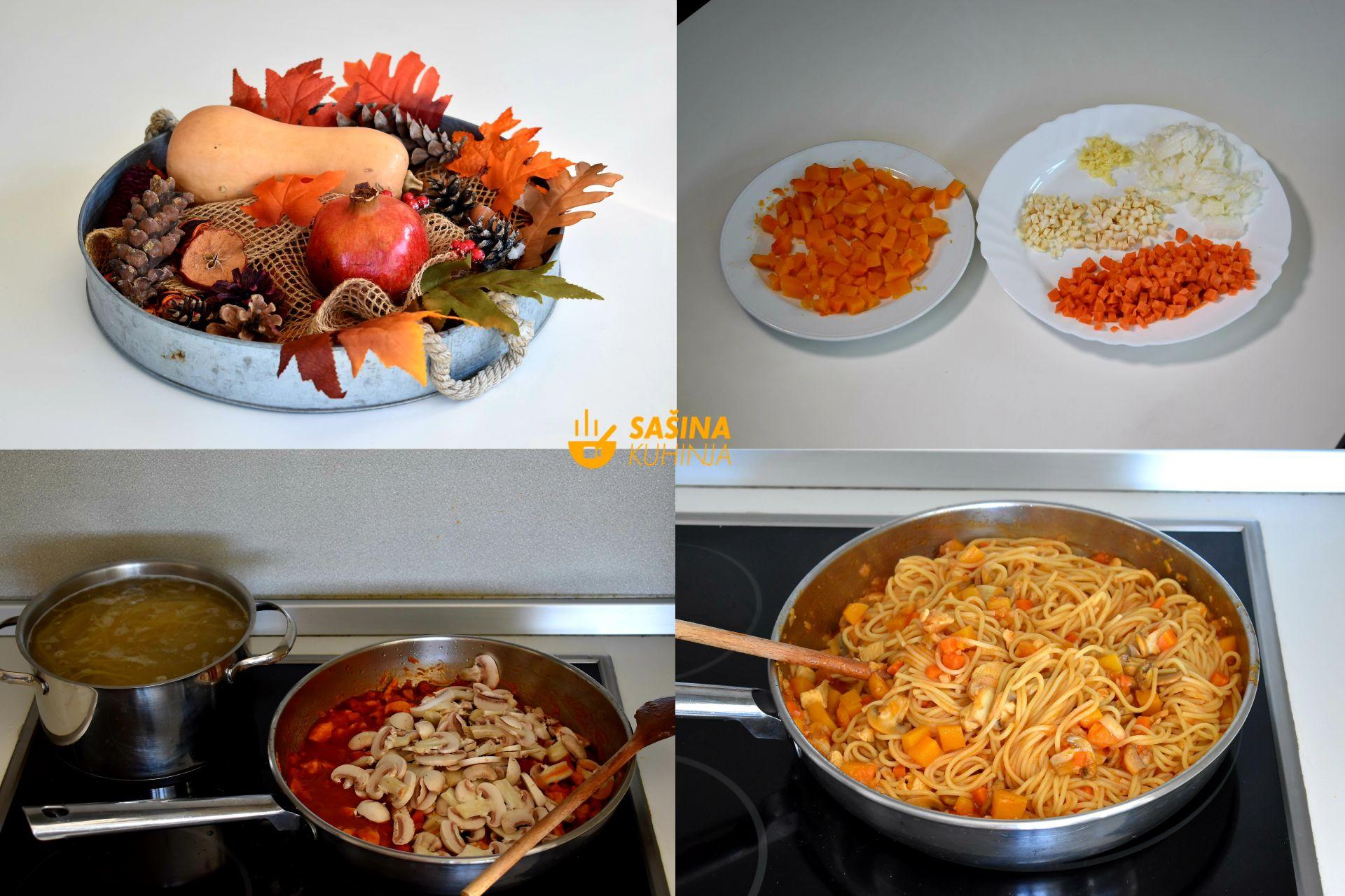 jesenja tjestenina sa piletinom šampinjonima butternut tikvom