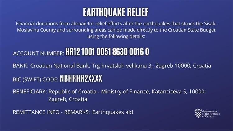 Broj računa za obnovu nakon potresa 2020