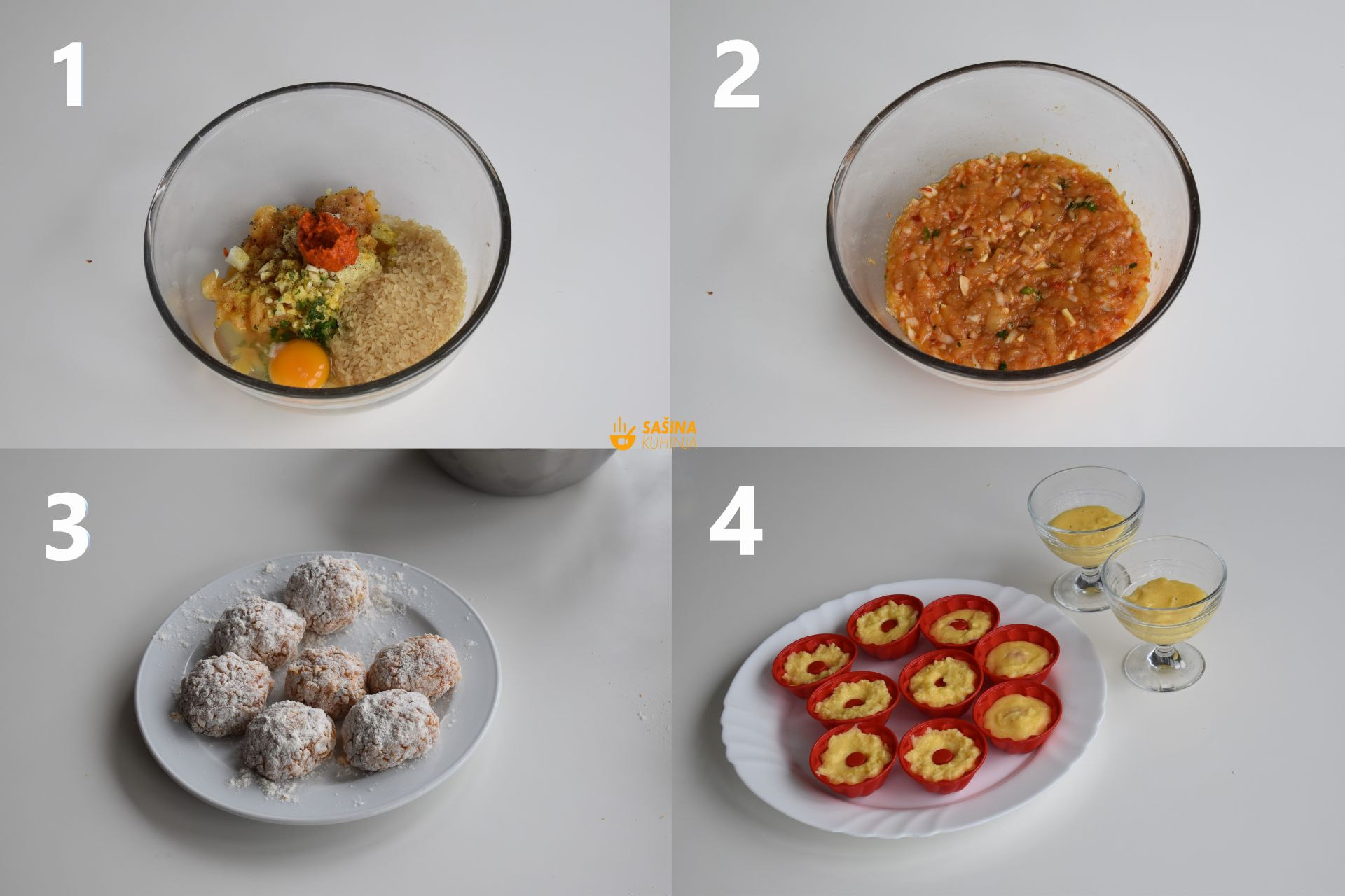 okruglice od piletine u umaku od rajčice i palenta sa parmezanom i maslacem
