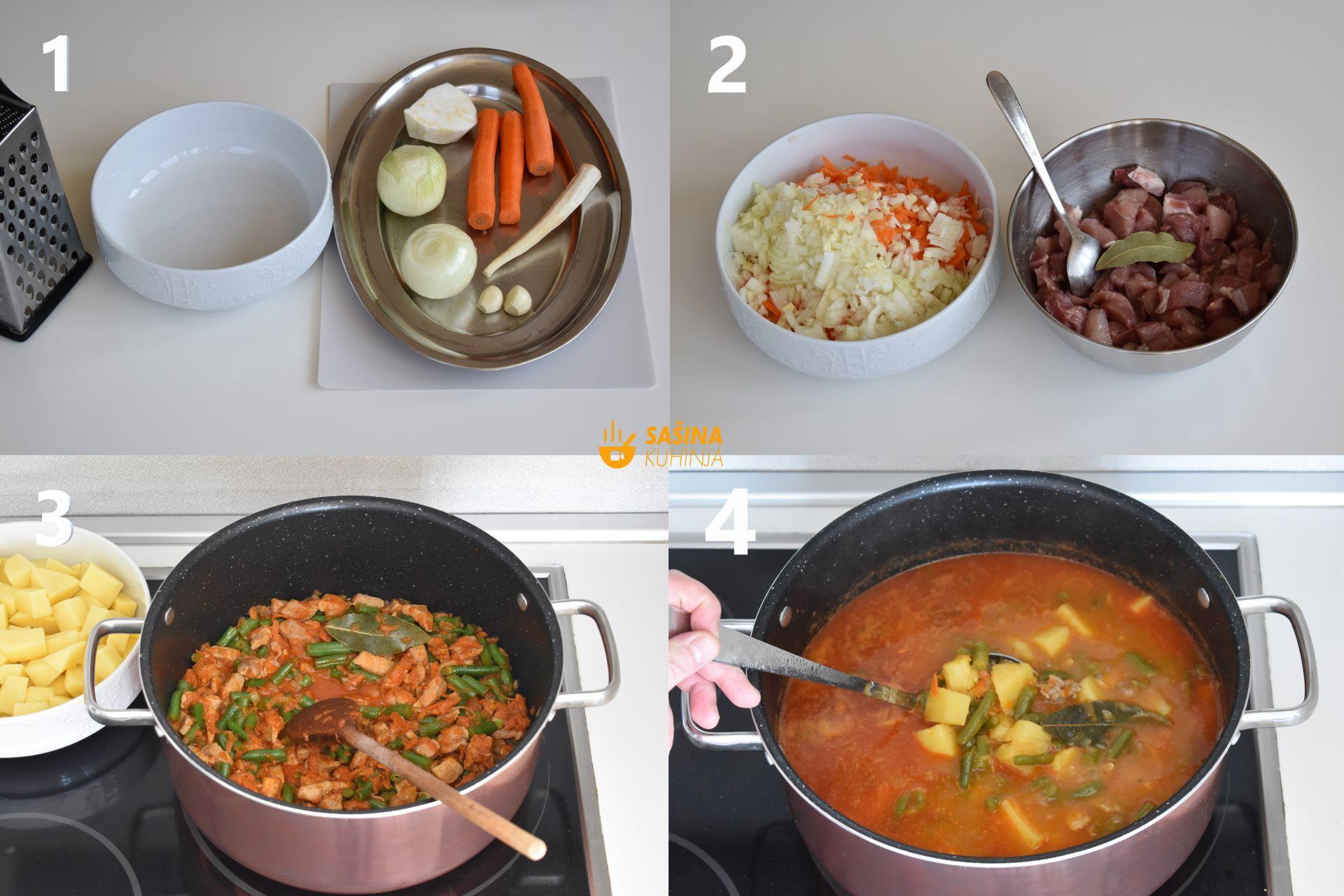 zelene mahune sa svinjetinom i krumpirom varivo recept