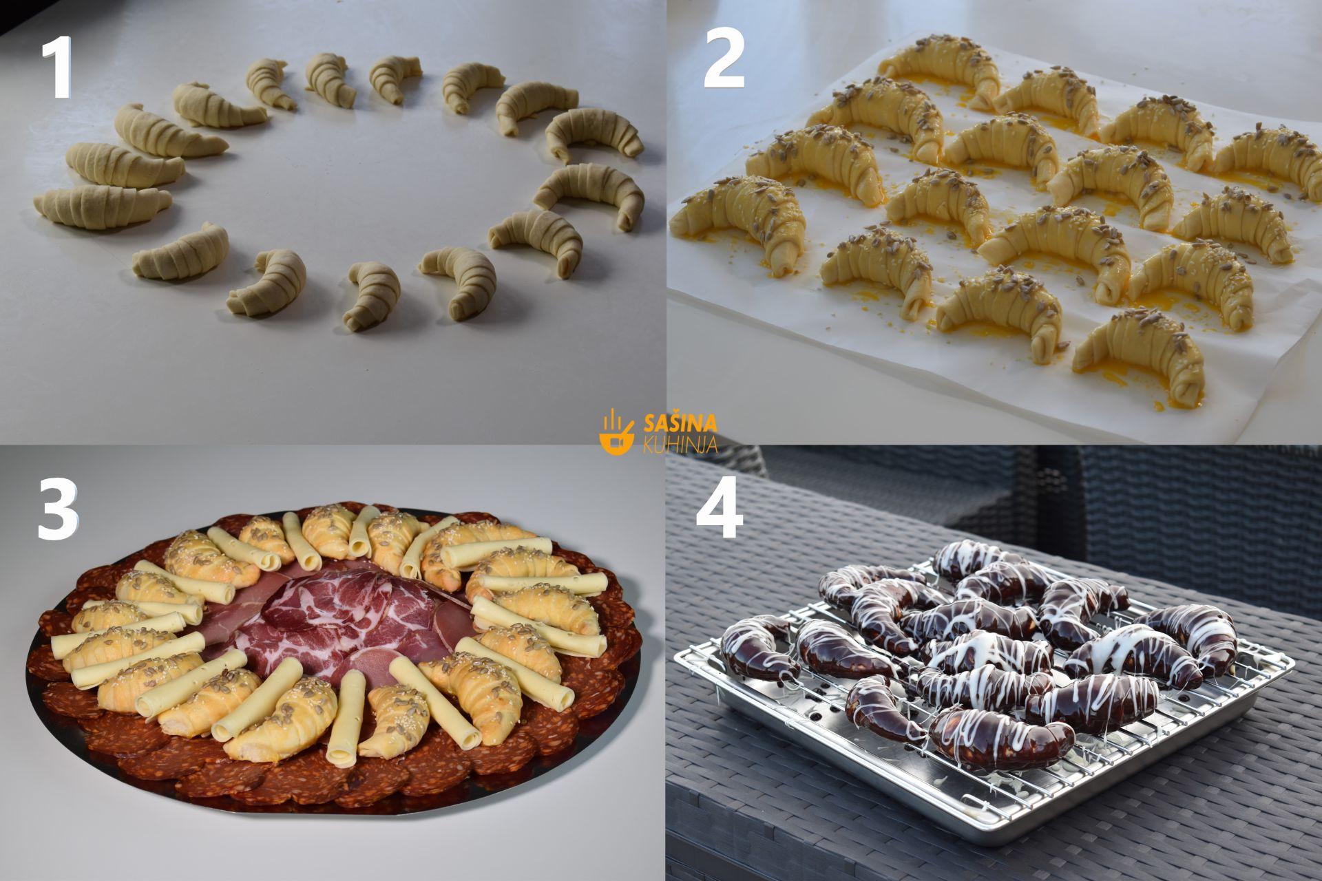 kiflice prelivene čokoladom slatke i slane punjene sirom recept
