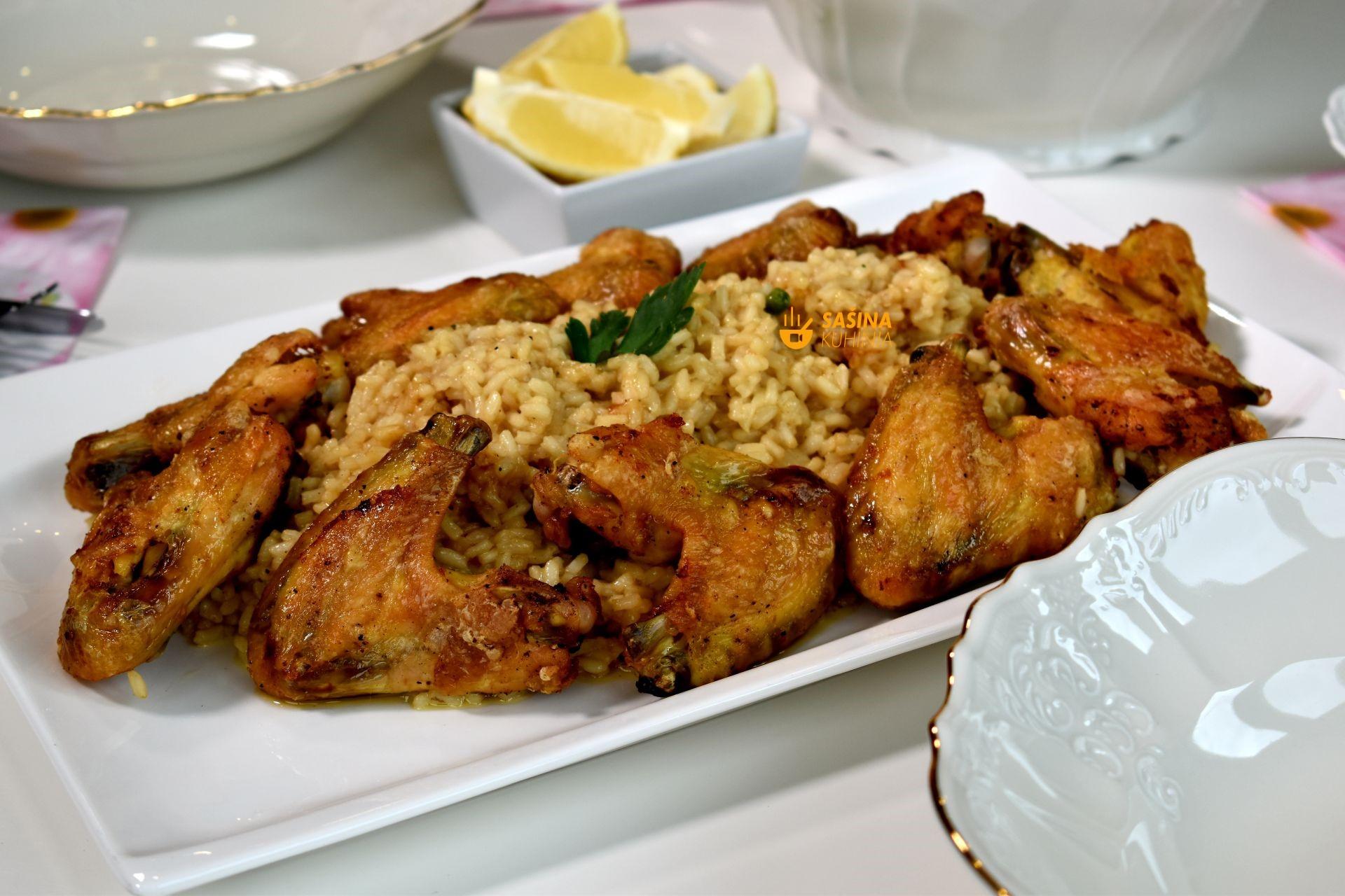 meni omiljen ručak recepti ideja pileća krilca iz pećnice sa rižom i pileća juha